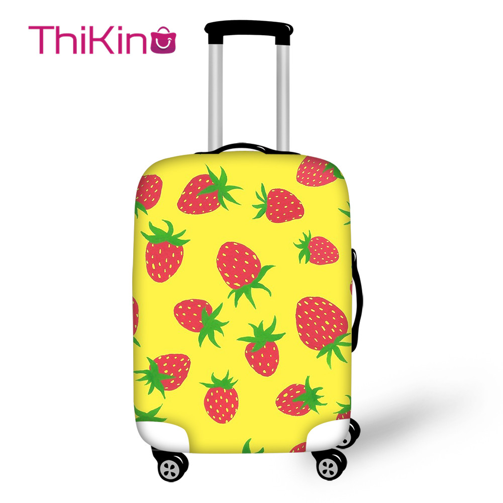 Thikin Summer Strawber Travel Luggage Cover For Girls Cartoon School Trunk Suitcase Protective Cover Travel Bag Protector Jacket