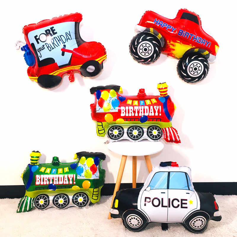 Pickup trucks car Foil balloon happy birthday party decoration big tank train police cars fire car children's balloon boys toy