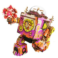 3D Stereo Wooden Robot Music Box Valentine's Day Gift DIY Model Toy The Early Awakening Of Love
