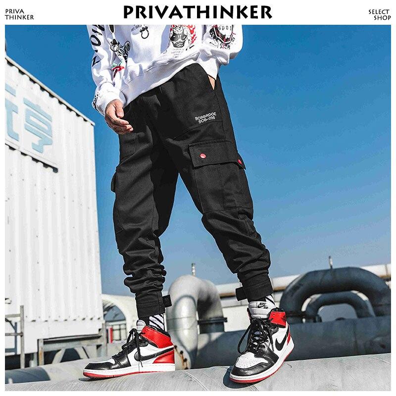Privathinker Joggers Ankel-Length Camo Pants 2019 Mens Pockets Japanese Sweatpants Male Korean Pants Hip Hop Track Pants 4XL