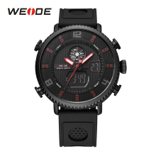 WEIDE Men Sport Stopwatch Calendar Date Back Light Black Band Strap Buckle Analog Quartz Digital LCD Dual Display Wristwatch