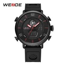 WEIDE Men Sport Stopwatch Calendar Date Back Light Black Band Strap Buckle Analog Quartz Digital LCD Dual Display Wristwatch
