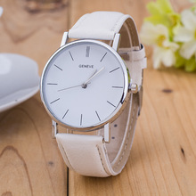 цены New Simple Design Unisex Fashion Geneva Watches Casual Women Leather Analog Quartz Wrist Watch Ladies Watch Relogio Feminino