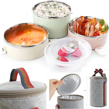 3 layer Large 1 pcs Stainless Steel Lunch Box dinnerware Sets Food Container Lunch food box with Thermal Bag