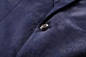 Image 5 - PYJTRL Male Retro Vintage Navy Blue Floral Print Casual Velvet Blazer Homme Design Casacas Men Coat Slim Fit Suit Jacket