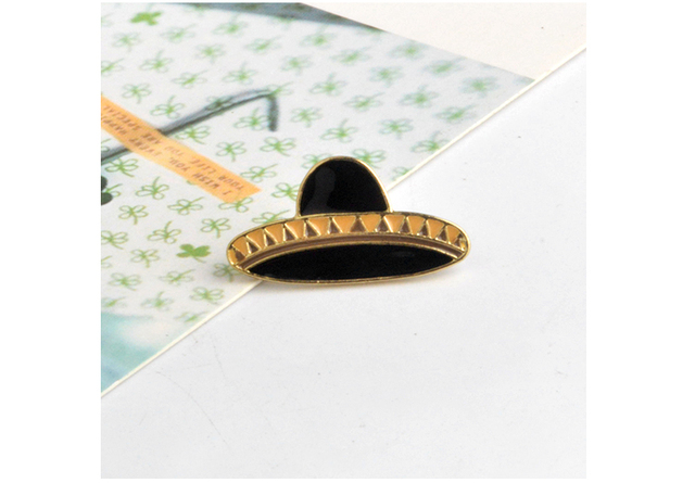 QIHE JEWELRY Hat Guitar Mexican Cactus Enamel Pin Badge Metal Girls Jeans Bag Decoration Gift Fashion Jewelry Wholesale