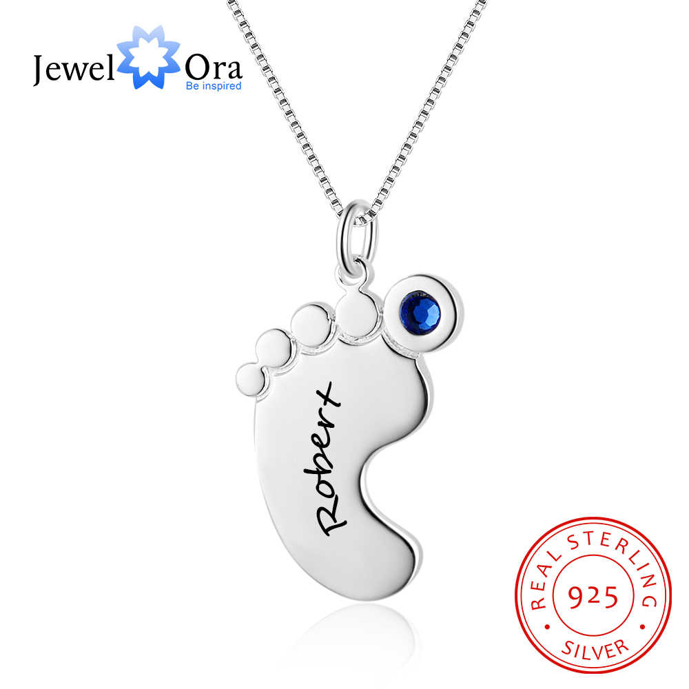 ee84714021 Feet Shape Personalized Engrave Name Necklace With Birthstone 925 Sterling  Silver Necklaces & Pendants (JewelOra
