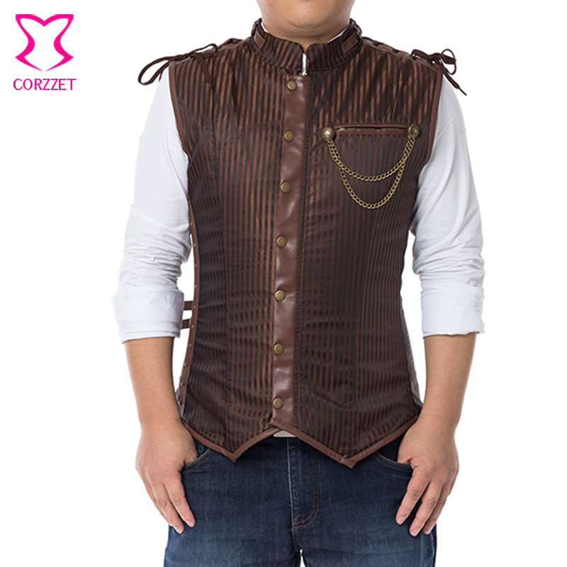 펑크 남성 성격 재킷 고딕 록 가짜 가죽 민소매 코트 고스 큰 스팀 펑크 의상 패션 두꺼운 짧은 코트