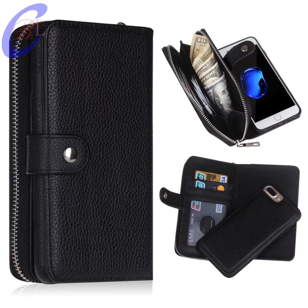 BRG для iPhone 7 6 Plus X Съемный кожаный бумажник чехол Съемный кошелек Чехол Флип карты Задняя крышка молния сотовый телефон Мягкий