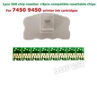 1 STÜCKE Chip resetter für epson 7450 9450 druckerpatrone chips + 8 stücke kompatibel verstellbarem chips für Epson stylus pro 7450 9450