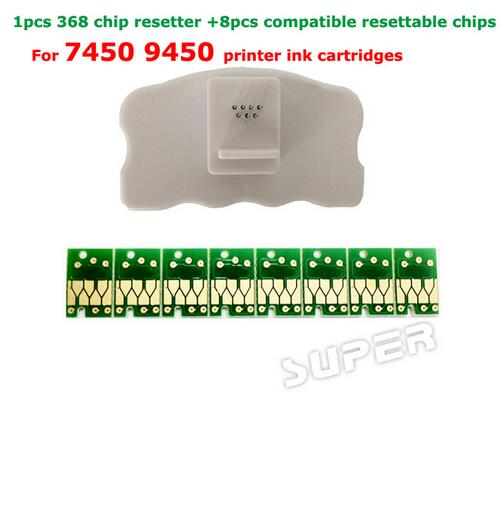 1PCS Chip resetter for epson 7450 9450 printer cartridge chips + 8pcs compatible resettable chips for Epson stylus pro 7450 9450 850ml compatible empty refillable ink cartridge for epson stylus pro 10000 pro 10600 10000cf printers cartridge with chip t499