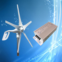 400W Wind Turbines 12V/24V Optional + 600W Wind Generator Charge Controller with LED Indicator, Auto and Manual Brake