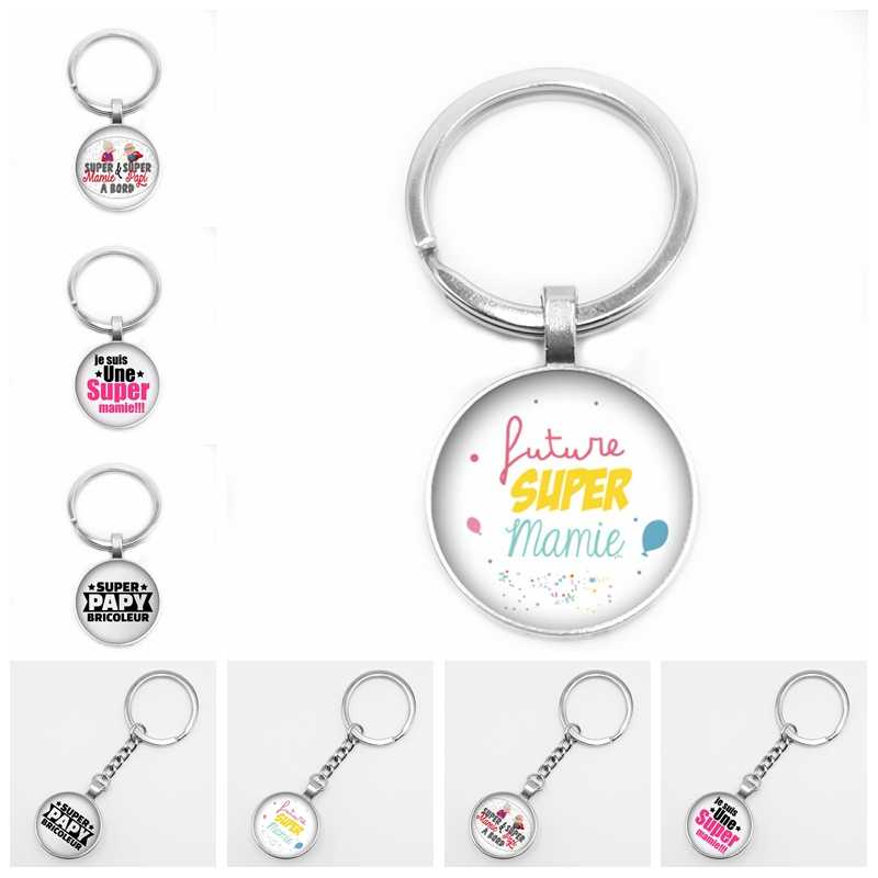 2019 New Hot Super Mamie Round Pattern Glass Keyring Cabochon Gem Super Papy Dome Charm Cameo Car Keychain Pendant