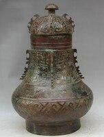 Elegant old S2207 19 Old China dynasty Bronze Folk flower food water vessel kettle Pot Jar Crock statue