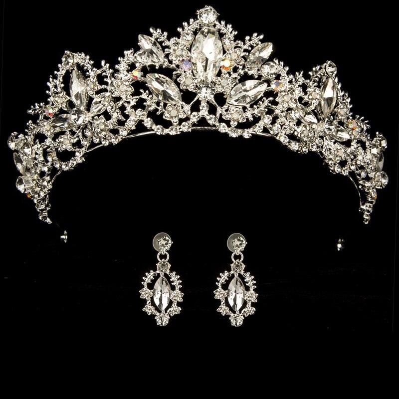 Princess Tiara Earrings Headband Queen Crown Diadem Large Luxury Hair-Female Prom-Party