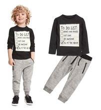 Boys Casual Tracksuits 100% Cotton 2017 Autumn Letters T-Shirt+Pant Outfits Kids Sports Suit Boys 2PCS Sets Children's Clothing