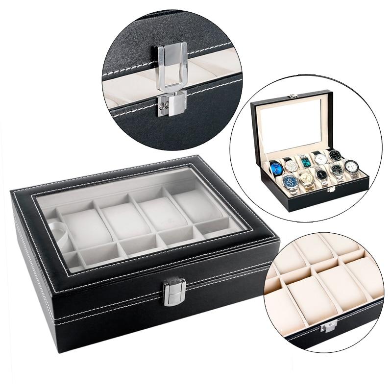 Luxury Classical Holder Black Leather Watch Box High Quality Storage Foam Pad Gift Box WB35 best for watch gift box classical mens