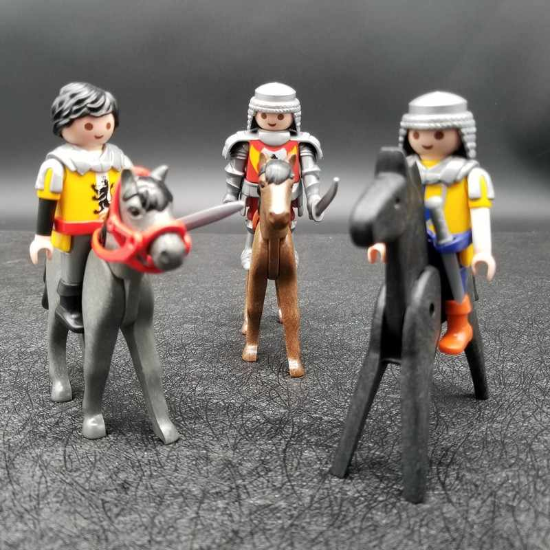 1 Pcs Playmobil Pelana Kuda Prajurit Tentara Knight Action Figure Castle Anak Model Boneka Blok Bangunan Peran Bermain Mainan X116