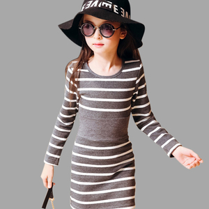 Kids Girls Dress Cotton Striped Long Sleeve Girls Clothing Spring Casual Children Girls Dress 4 5 6 7 8 9 10 11 12 13 14 Years(China)