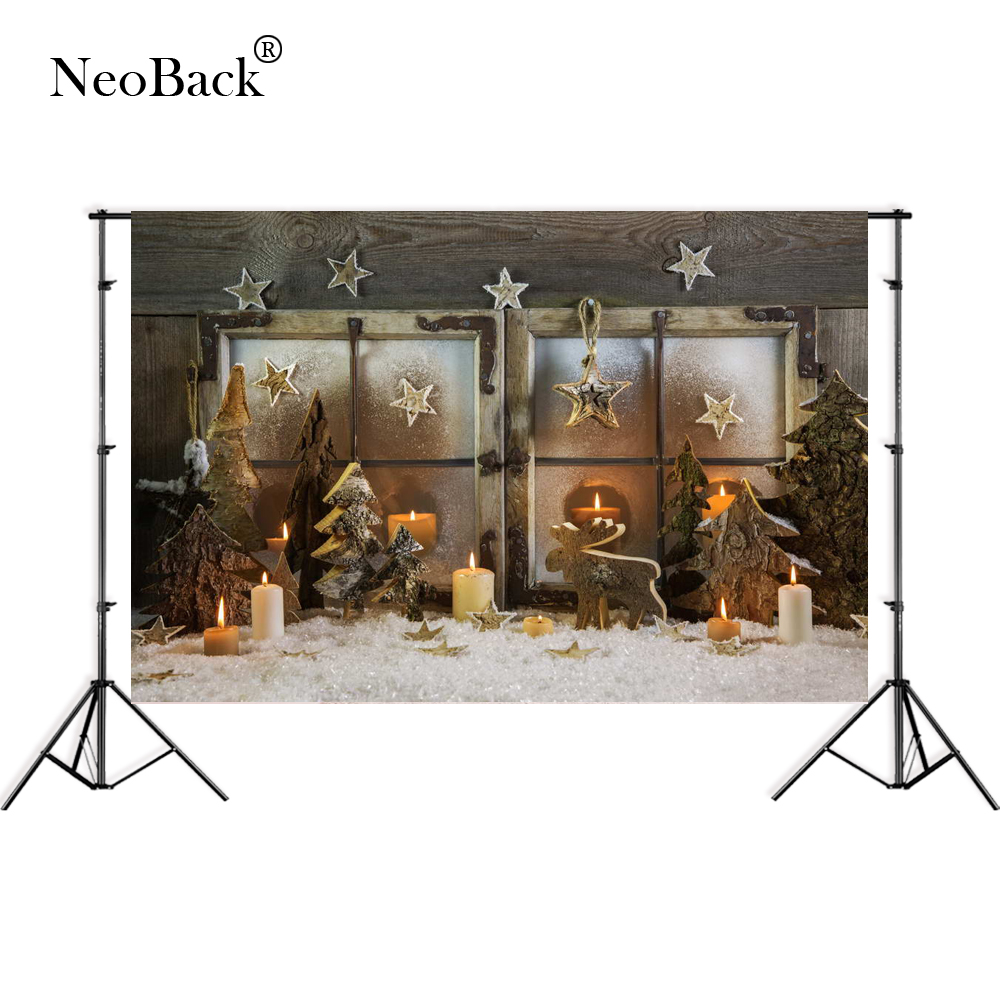 NeoBack 7x5ft wide Thin vinyl photo backgrounds vintage Christmas tree Banner decoration Fireplace Photographic backdrop B3092