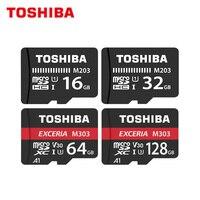 東芝マイクロ SD カード Class10 M203 16 ギガバイト 32 ギガバイト元のメモリカード M303 64 ギガバイト 128 ギガバイト TF カード 98 までメガバイト/秒フラッシュカード