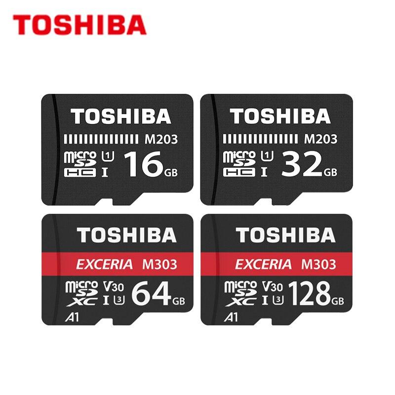 TOSHIBA Micro SD карта класс 10 M203 16 ГБ 32 ГБ Оригинальная карта памяти M303 64 Гб 128 ГБ TF карта до 98 МБ/с./с флэш-карта для телефона