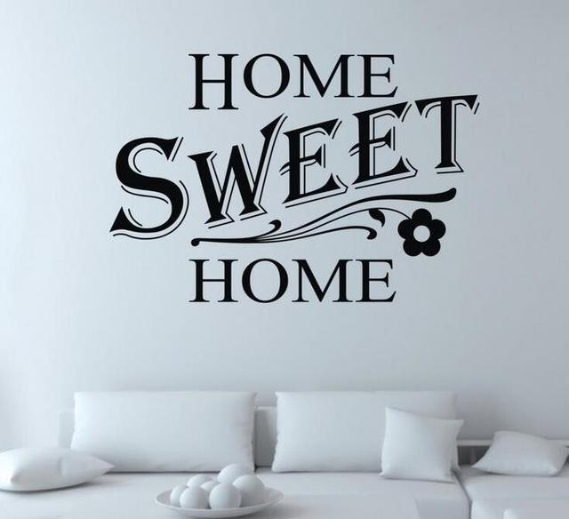Diy home sweet home quote wall sticker living room vinyl for Living room decor quotes