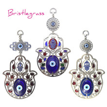 BRISTLEGRASS Turkish Blue Evil Eye Hamsa Hand Rose Flower Amulet Lucky Charm Wall Hanging Pendant Blessing Protection Home Decor