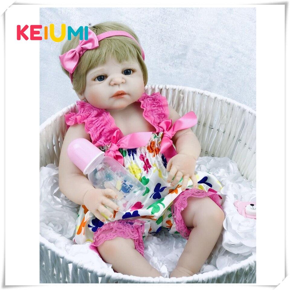 23 дюймов белая кожа Детская кукла Реалистичная полная силиконовая виниловая живая девочка кукла реборн Детская кукла для детей подарки мал...