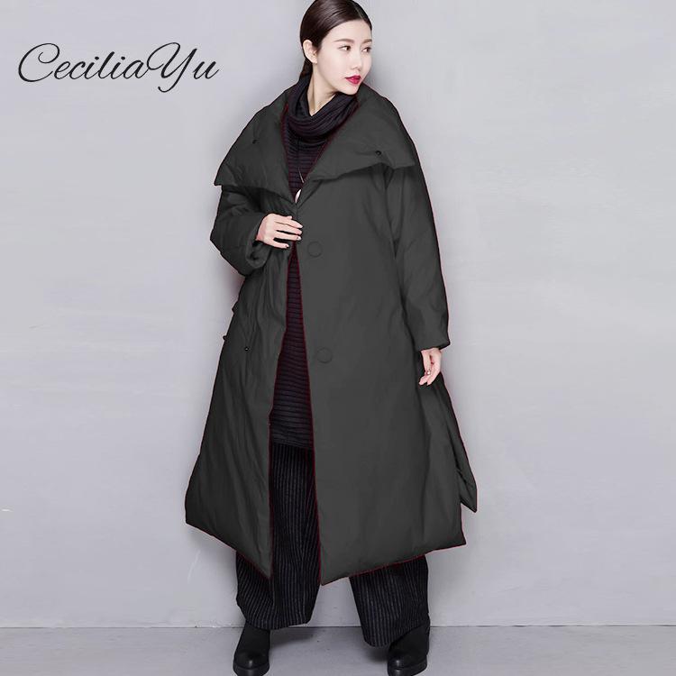 Cecilia 2018 зима новый белый утиный пух куртка большой размер зимняя женская куртка пуховик Женская длинная секция утолщение вниз
