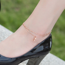 Top Quality 18KGP Rose Cross Double-layer Anklet Classic Women's Titanium Steel Jewelry Free Shipping (GA066)