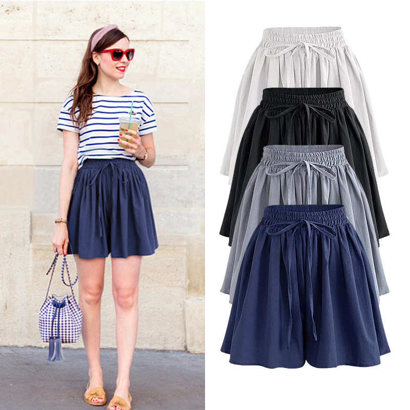 Skirt Shorts  New Summer Plus Size  Chiffon  Casual Loose Elastic High  Waist  Female  Wide Leg Shorts 5xl 6xl