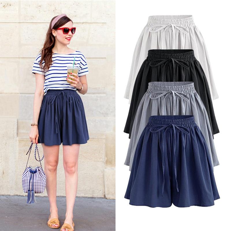 Skirt Shorts  New Summer Plus Size  Chiffon  Casual Loose Elastic High  Waist  Female  Wide Leg Shorts 5xl 6xl