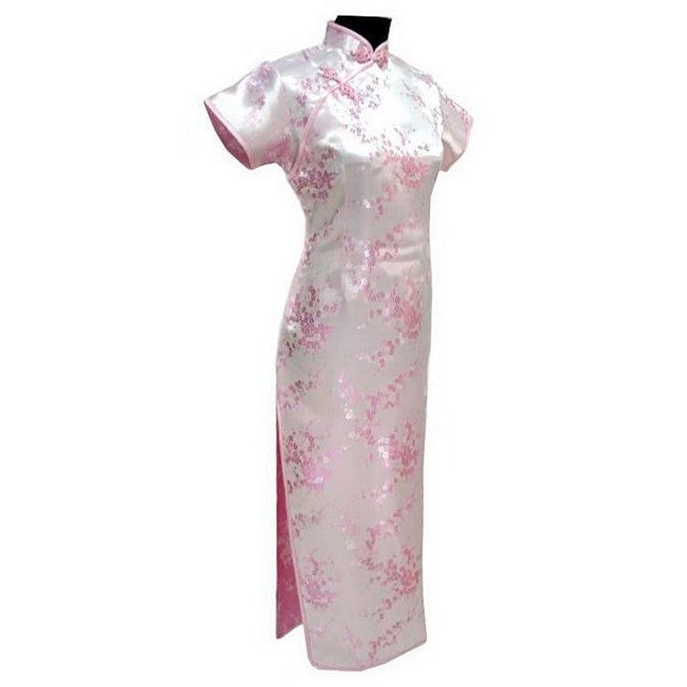 Satin Longue Qipao Robe Mujer Vestido fleur taille S M L XL XXL XXXL - Vêtements nationaux - Photo 5