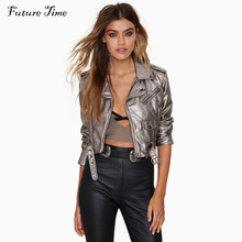 2017 Spring Lapel Oblique Zipper Crop Pu Jacket Punk Style Silver Bandage Women PU Leather Jacket Coat Casual Crop Tops C0837