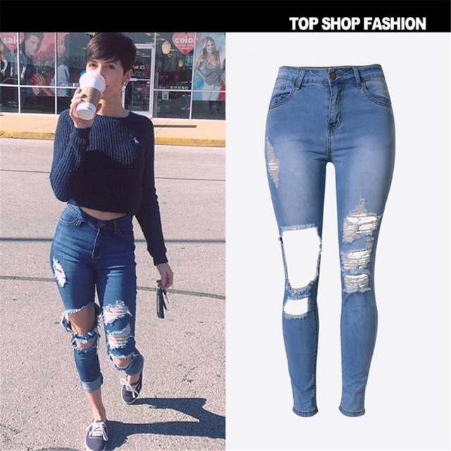 d66861dfbf27 Liva Fille De Mode Déchiré Taille Haute Jeans Stretch Détruits Femmes  Pantalon Pantalon Sexy grand Trous