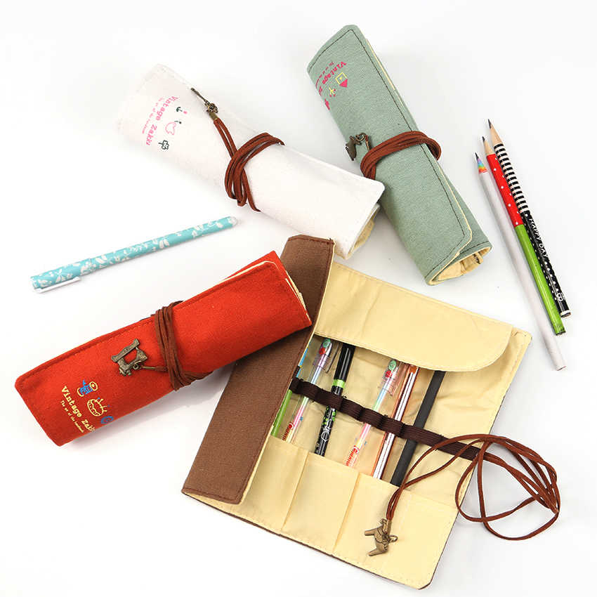 1 предмет ретро-Карандаш сумка сплошной Цвет карандаши чехол Обёрточная бумага Roll Up дети милые канцелярские сумка канцелярские принадлежности