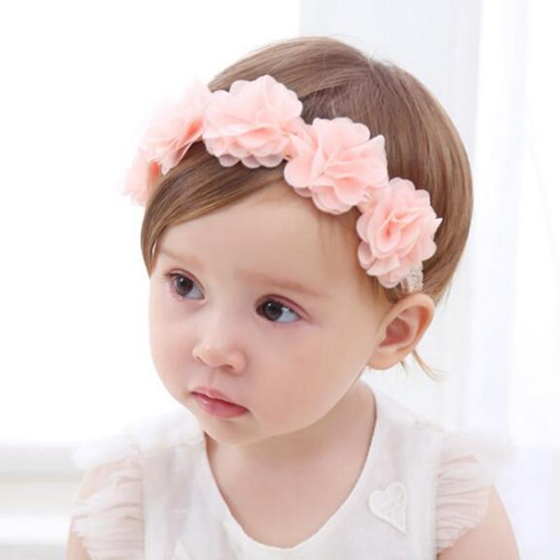 New Baby Flower Headband Pink Ribbon Hair Bands Handmade DIY Headwear Hair Accessories For Children Newborn Toddler