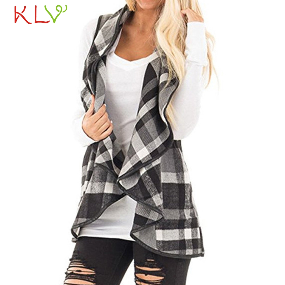Well-Educated Women Vest Jacket Winter Long 2018 Plaid Pocket Plus Size Ladies Chamarra Cazadora Mujer Coat For Girls 18oct23 Bright And Translucent In Appearance Vests & Waistcoats Women's Clothing