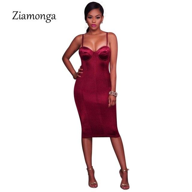 281c32ca24 Ziamonga Donne Sexy Busto Avvolgere Pad Senza Maniche Party Dress ...