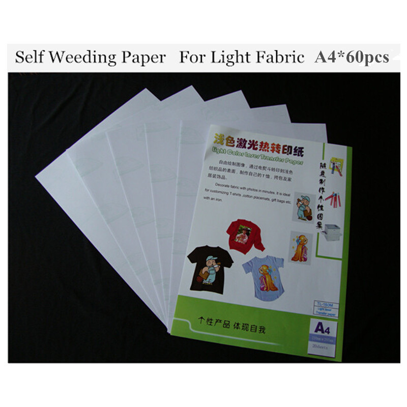 (A4*60pcs) Laser Printers Heat Transfer Paper (8.3*11.7 Inch) Self Weeding Paper For Light Color Cotton Thermal Transfers Papel