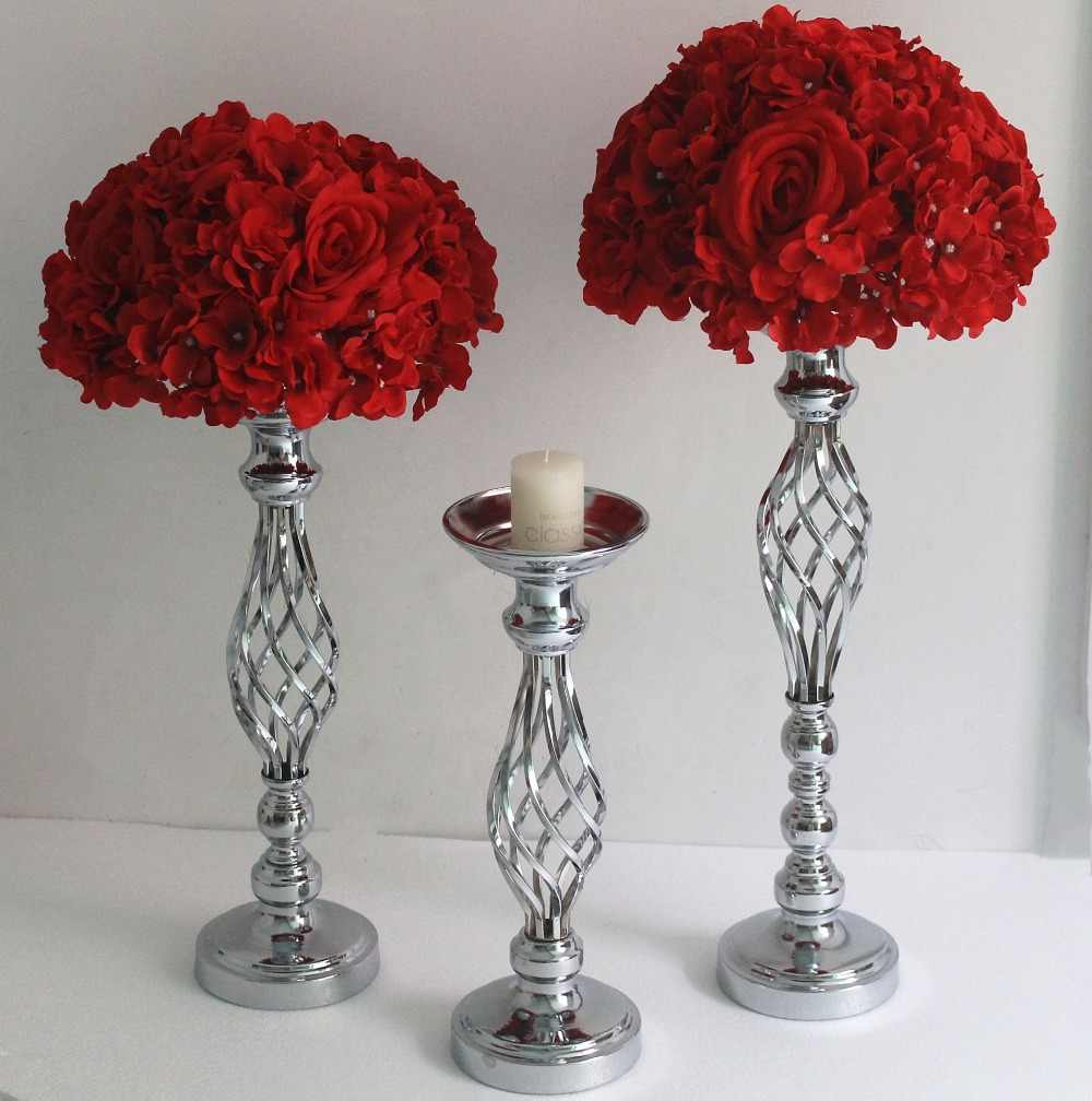 Gold/ Silver Flowers Vases Candle Holders Road Lead Table Centerpiece Metal Stand Candlestick For Wedding Party Candelabra