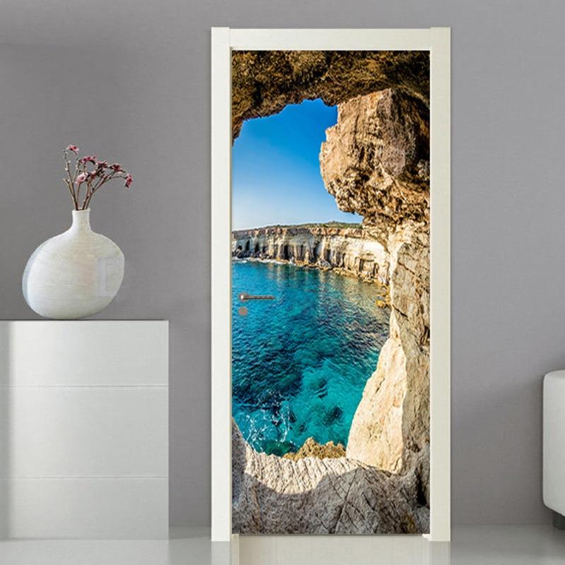 Photo Wallpaper 3D Stereo Cave Seascape Mural Modern Creative DIY Door Wall Sticker Living Room Dining Room Home Decor PVC Mural