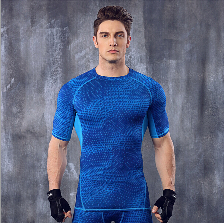 Männer Kompressionsstrumpfhose Shirt Base Layer Fitness Workout Tops - Herrenbekleidung - Foto 1