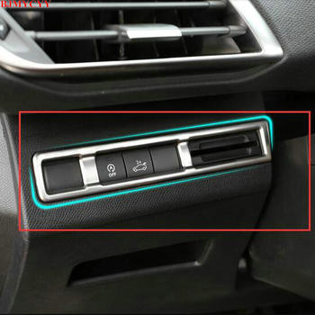 BJMYCYY Fit For 2017 Peugeot 5008 3008 GT Accessories Stainless Steel Car Headlight Adjustment button Cover Car Styling lsrtw2017 stainless steel car lower window trims for peugeot 5008 accessories