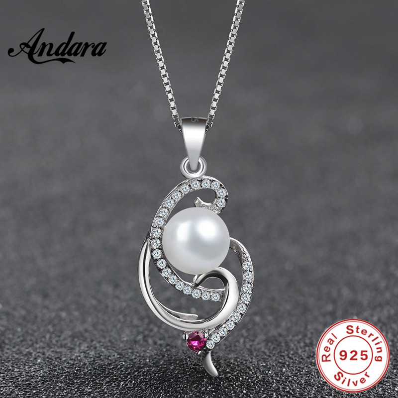 <font><b>ANDARA</b></font> 925 Sterling Silver Necklace Personality Pearl Inlaid Zircon Pendant Necklace For Women Girl Female Jewelry Wedding Gift image