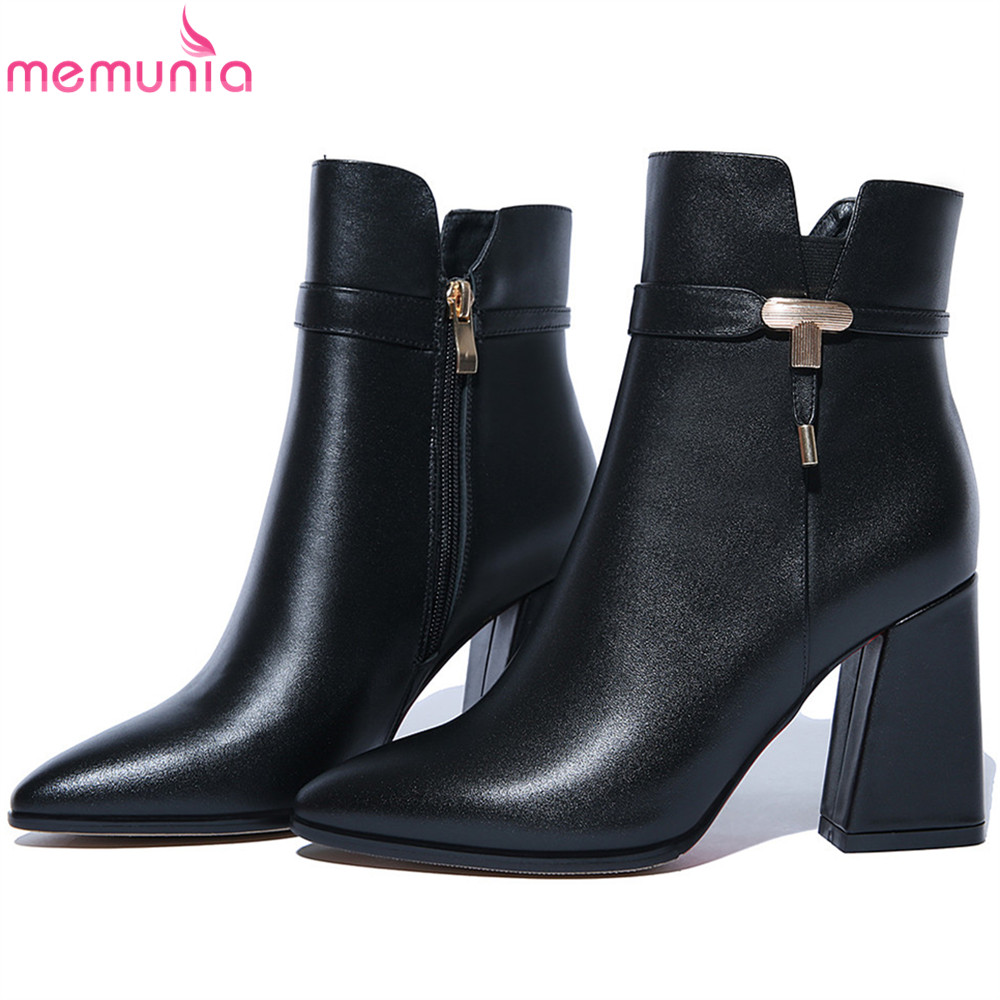 MEMUNIA fashion black red women boots square heel pointed toe genuine leather ladies boots cow leather ankle boots big size