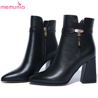 MEMUNIA Fashion Black Red Women Boots Square Heel Pointed Toe Genuine Leather Ladies Boots Cow Leather