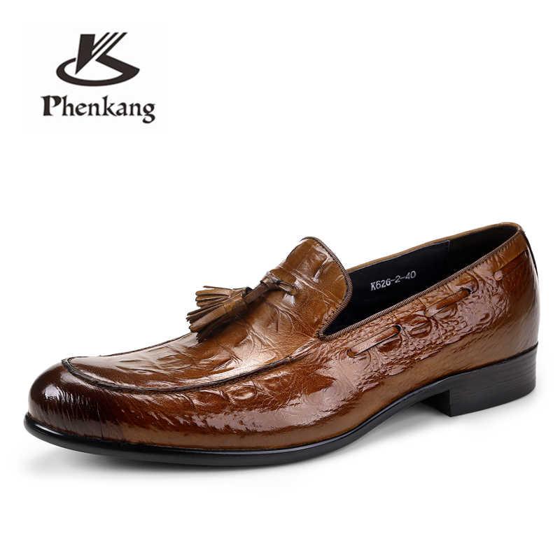 Phengang zapatos de cuero para Hombre Zapatos oxford de cuero genuino para hombres zapatos de vestir de lujo slipon zapatos de boda zapatos de cuero brogues