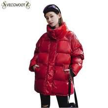 f2c40460c95f5 2019 Новая мода Металл одноцветное черный, красный яркий куртки Для женщин  зимние Теплый пуховик с